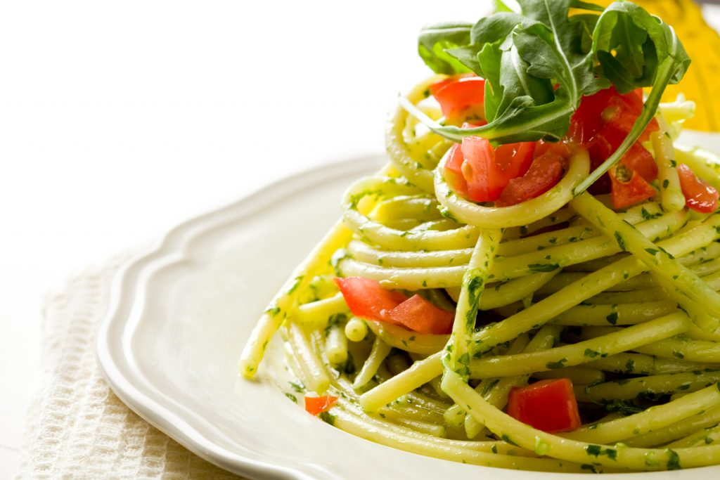 International Day of Happiness Rustichella d'Abruzzo Bucatini with aragula pesto and cherry tomatoes Rustichella Bucatini Happiness pasta recipe how to make pesto aragula pesto