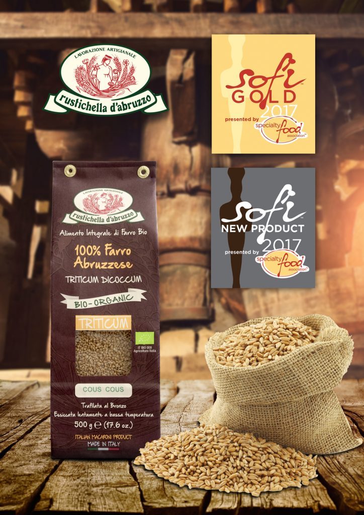 Italian Food Awards 2017 Cologne Anuga Germany Taste the Future Rustichella d'Abruzzo 100% organic abruzzese farro whole wheat farro cous cous from Abruzzo sofi Awards sofi gold 2017 sofi new product 2017 Abruzzo Food & Beverage italianfood.net Food b2b